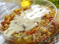 Класическа картофена мусака с кайма и заливка с кисело мляко